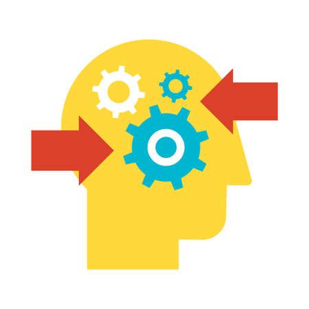 Illustration pour Decision making and problem analysis flat vector icon. Resolution planning color pictogram - image libre de droit