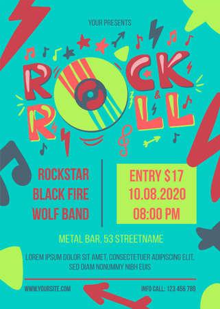 Photo pour Rock and roll party vector poster template - image libre de droit