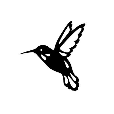 Illustration for Bird of hummingbirds, outline, black shadow, laser cutting. - Royalty Free Image
