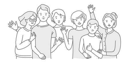 Illustration pour Group of smiling teenage boys and girls or friends standing together - image libre de droit