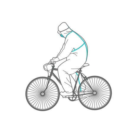 Illustration pour Man in protective clothing on a bicycle. - image libre de droit