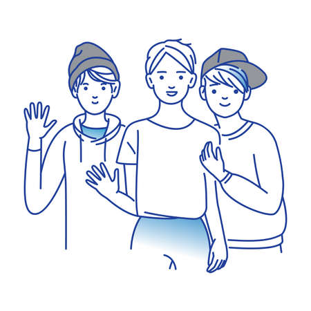 Illustration pour Group of smiling teenage boys, friends standing together, embracing each other, waving hands. Happy students isolated on white background. - image libre de droit
