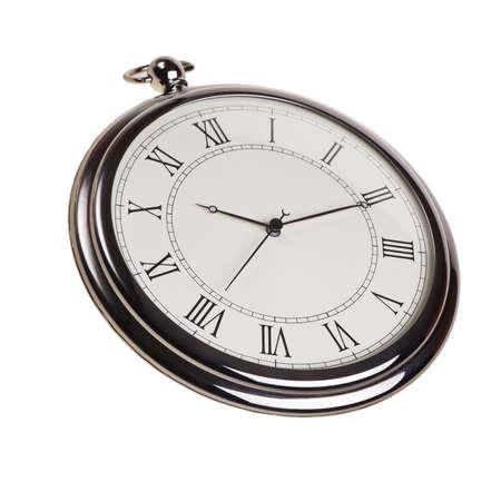 Retro pocket watch isolated over white background.