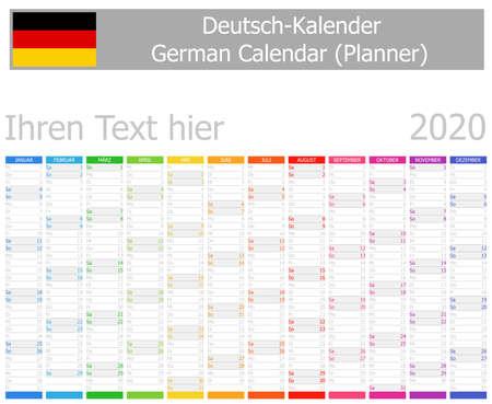 Illustration pour 2020 German Planner Calendar with Vertical Months on white background - image libre de droit