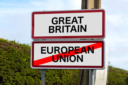 United Kingdom and Gibraltar European Union membership referendum and a traffic sign for Great Britain and European Union