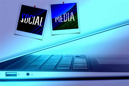 A computer and two photos for social media