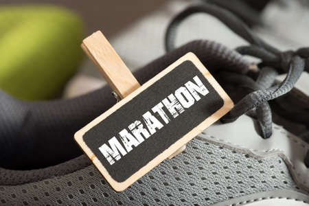 Running shoes and reference to marathon