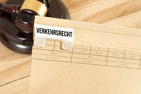 Judge gavel and folder road traffic law