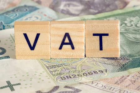 Photo pour Banknotes Polish zloty PLN and VAT in Poland - image libre de droit