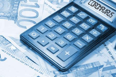 Photo pour Euro banknotes, calculator and corona virus - image libre de droit