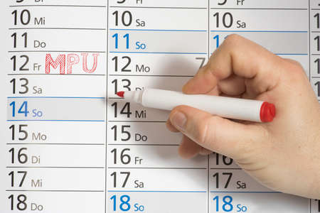 A calendar and appointment for MPU test