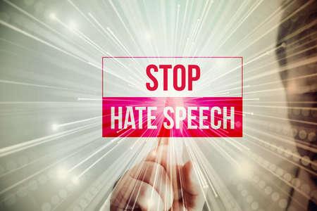 Photo pour A man and slogan stop hate speech - image libre de droit