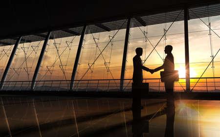 Foto de The business team silhouettes rendered with computer graphic  - Imagen libre de derechos