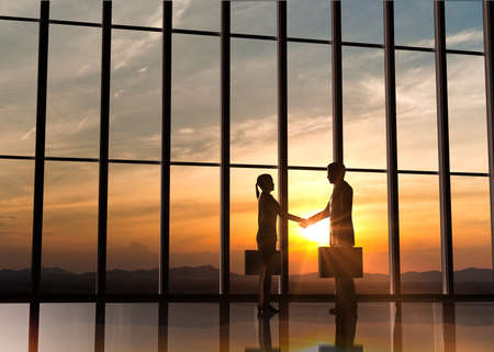 Photo for Two Business shake hand silhouettes rendered with computer graphic  - Royalty Free Image