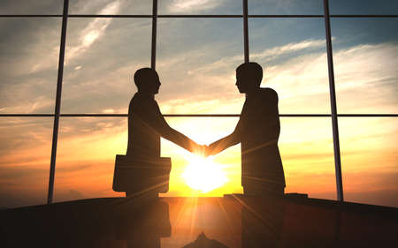 Photo for Two business shake hand in office silhouettes - Royalty Free Image