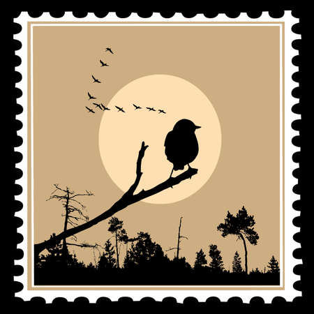 vector silhouette of the birds on postage stamps