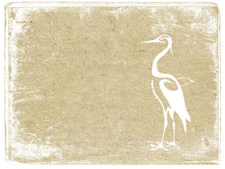 white crane on grunge background