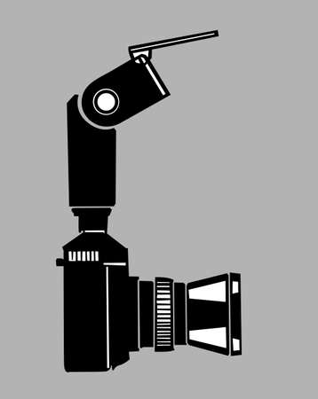 camera silhouette on gray  background, vector illustration