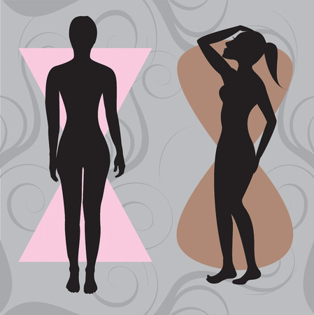 Vector Illustration of female body shape hourglass. Shape with balanced curves.