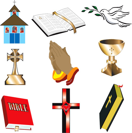 Church Icons 1 Vector, Illustration of 9 church/Christian icons.