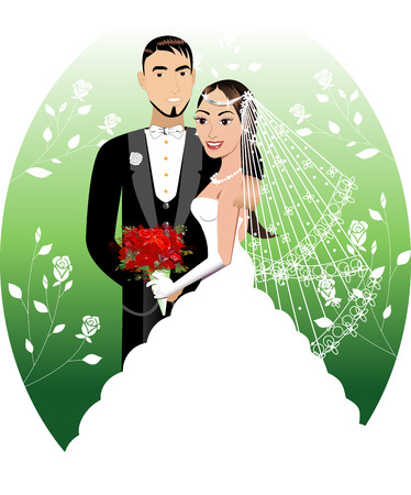 Illustration. A beautiful bride and groom on their wedding day. Wedding Couple 1.