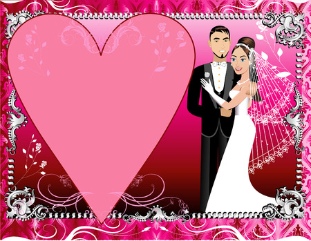 Illustration of a beautiful bride and groom on their wedding day. Wedding Couple 1 with Red, Pink and Silver Background template.