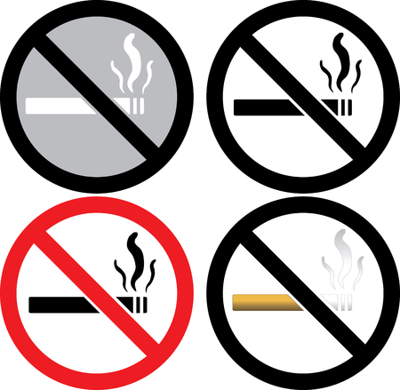 four no smoking signs.