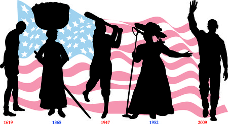 Vector Illustration timeline for Black History month with American flag.