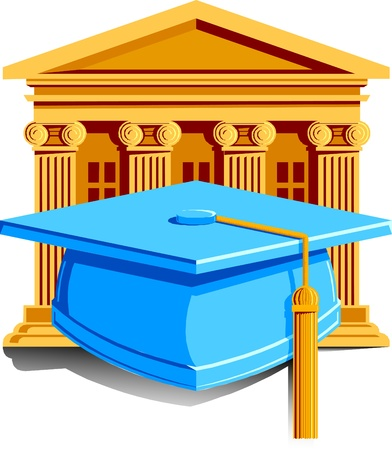 Illustration pour a cap with tassle for graduation with school in the background. - image libre de droit