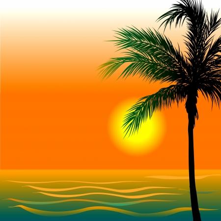 Illustration pour Illustration of Beach Background 4 during sunset or sunrise. - image libre de droit