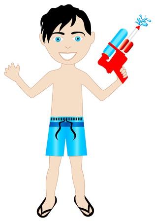 black hair boy in swimsuit with watergun.