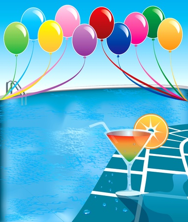 Illustration of pool party with balloons and cocktail drink.