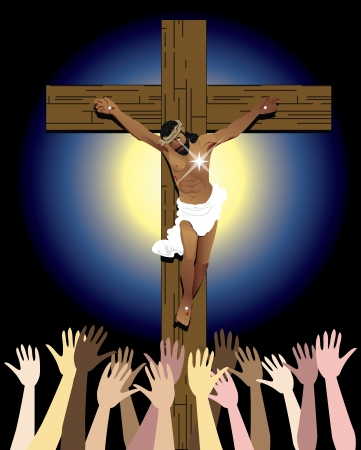 Vector Illustration showing the power of the holy spirit, Jesus Christ on cross. Easter Resurrection