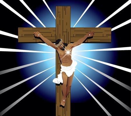 Vector Illustration of Jesus Christ on cross. Easter Resurrection.
