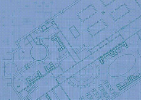 Photo for Architectural background with technical drawings. Blueprints plan texture. Drawing part of architectural project. - Royalty Free Image