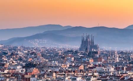 Foto de Sagrada Familia and panorama view of barcelona city,Spain - Imagen libre de derechos