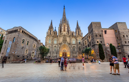 Barcelona cathedral at dusk,Spain