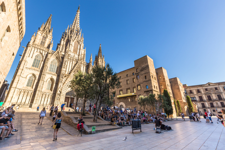 Barcelona cathedral at sunny day ,Spain