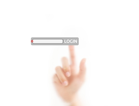 finger pressing login on the screen background