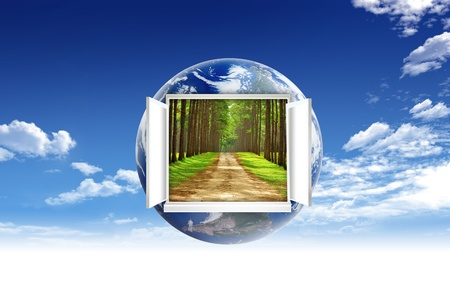 Window open on earth surface to the inside world, for environmental concept and idea