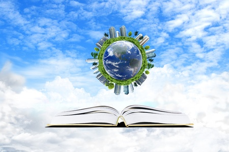 Book with cloud and earth  - education concept