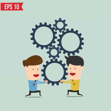 Illustration for Businessman with gears - Vector illustration - Royalty Free Image