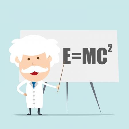Professor and scientist presenting Einstein Formula