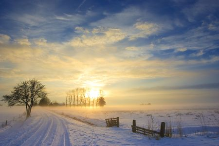 sunset landscape in winter with snow in Holland