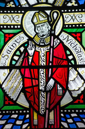 A Victorian stained glass window depicting Saint Nicholas.  Over 100 years old.