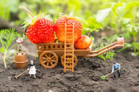 Photo pour A conceptual agricultural photo with working toy farmers. - image libre de droit