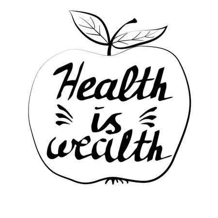 Hand drawn typography poster health is wealth in apple