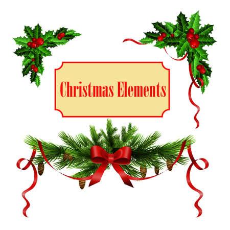 Ilustración de Decorative elements with Christmas holly set isolated - Imagen libre de derechos
