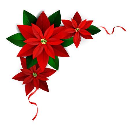 Illustration pour Christmas corner decoration on white Poinsettia with ribbons Vector for you design - image libre de droit