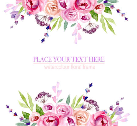 Illustration pour wreath of flowers in watercolor - image libre de droit